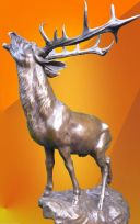 MAGNIFICENT SIGNED BRONZE CALLING STAG HOT CAST SCULPTURE